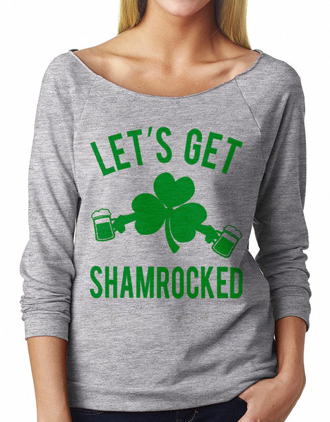 LET'S GET SHAMROCKED St. Patty's Day Off-Shoulder Sweatshirt Heather Gray