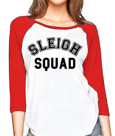 SLEIGH SQUAD Christmas Baseball Tee - Pick Color