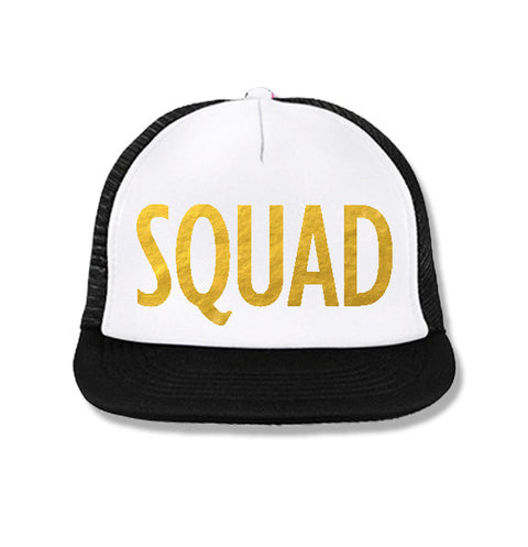 SQUAD Snapback Trucker Hat White with Gold Print