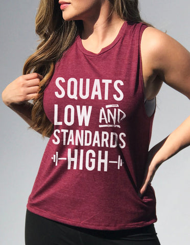 Squats Low & Standards High Merlot Muscle Tank