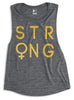 STRONG Female Gold Foil Muscle Tank Top - Pick Color