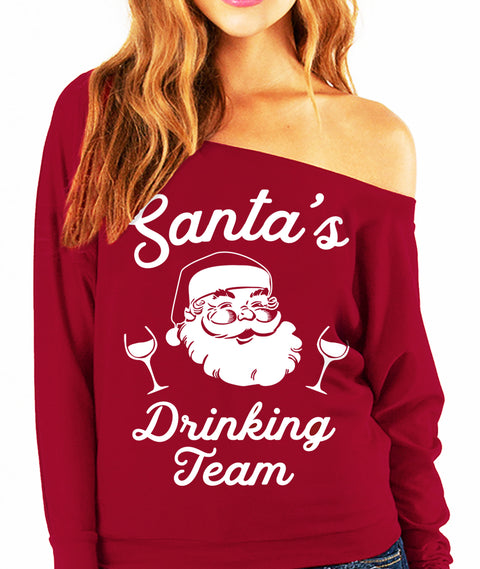 SANTA'S DRINKING TEAM Christmas Slouchy Sweatshirt Wine Version - Scarlet