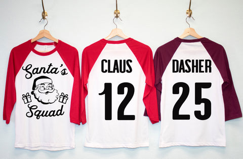 SANTA'S SQUAD CUSTOM Christmas Shirts - Pick Name & Number