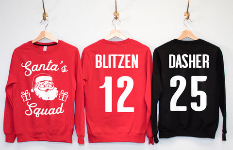 SANTA'S SQUAD CUSTOM Christmas Sweatshirts Crew Neck - Pick Name & Number