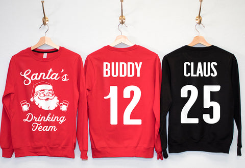 SANTA'S DRINKING TEAM Christmas Crew Neck Sweatshirts - Pick Name & Number