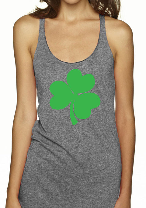 St. Patty's Shamrock Tank Top - Heather Gray