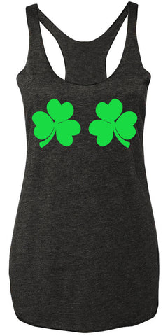 Shamrocks Bikini Tank Top - Charcoal Heather with Green Print