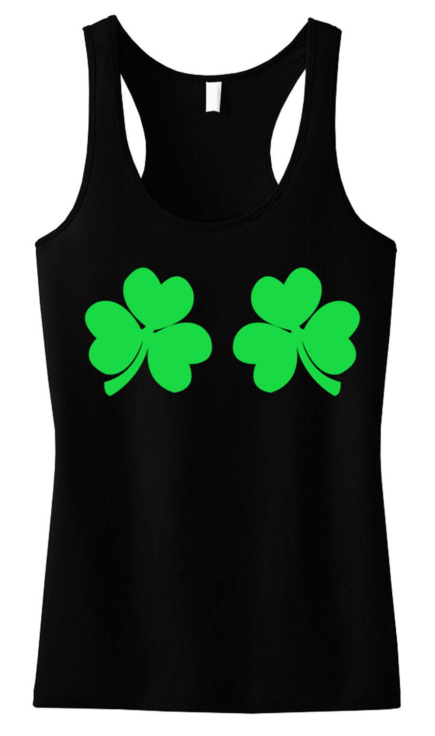 Shamrocks Bikini Tank Top - Black with Green Print