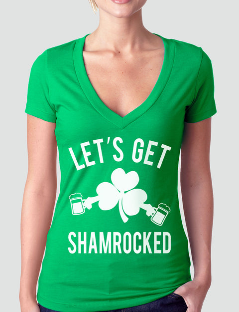 Let's Get Shamrocked St. Patty's Day Green V-Neck
