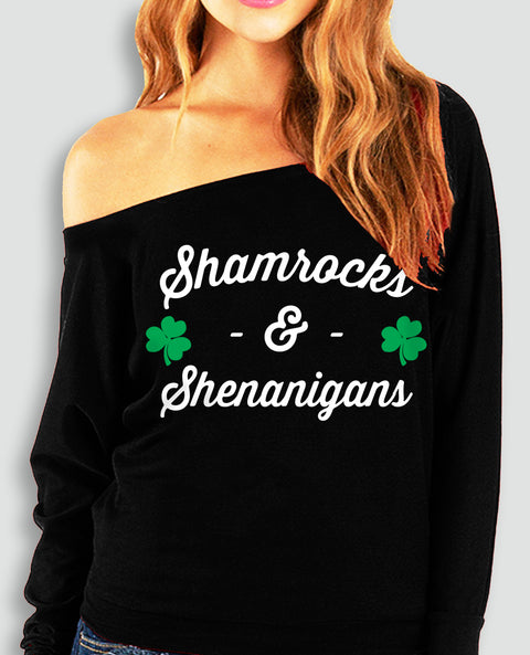 Shamrocks & Shenanigans Off-Shoulder Sweatshirt