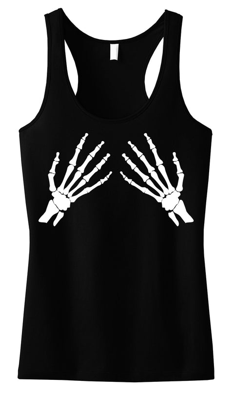 Skeleton Hands Tank Top Black