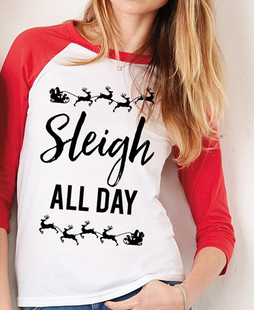SLEIGH ALL DAY Christmas Red Baseball Tee