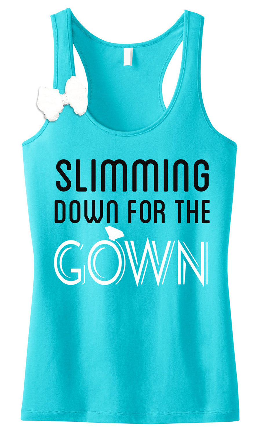 Slimming Down for the Gown Teal Tank