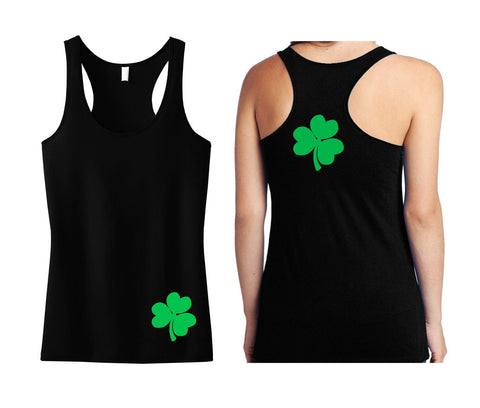 St. Patty's Shamrocks Front and Back Tank Top - Black