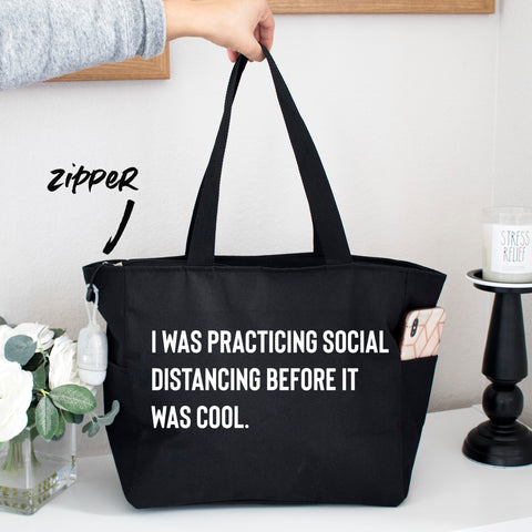 Social Distancing Grocery Zipper Shopping Tote Bag
