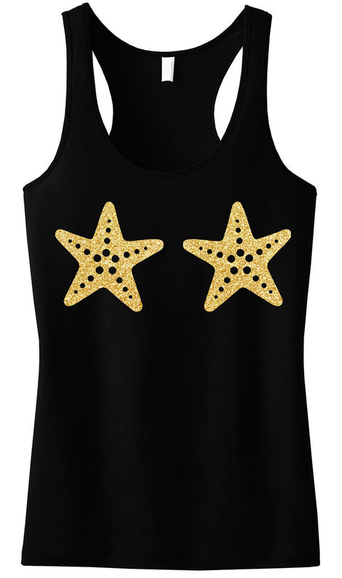 MERMAID Starfish Black Tank Top Gold Glitter Print