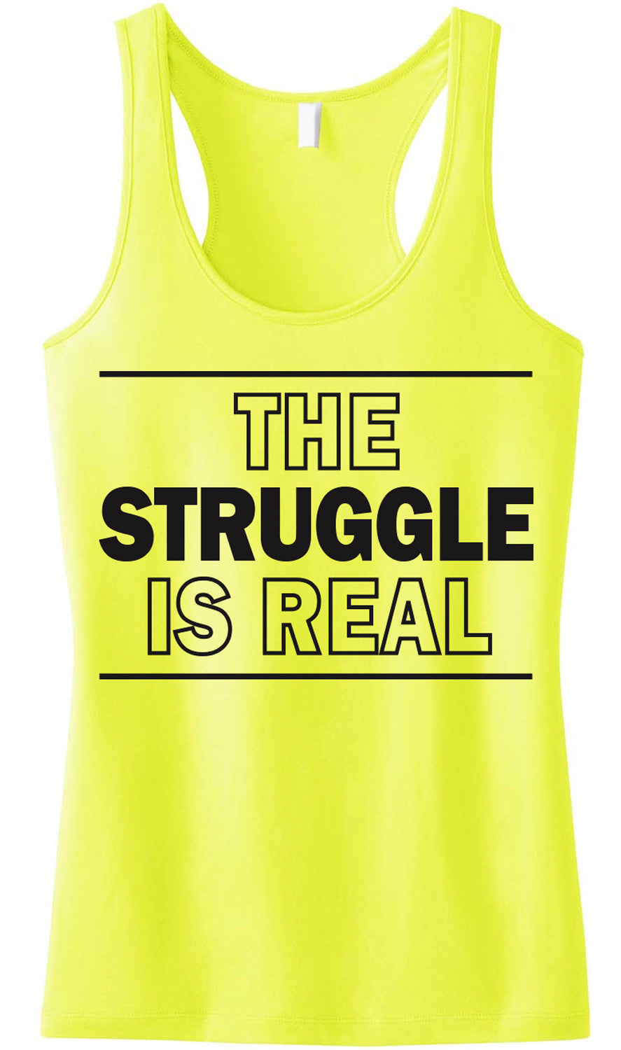 The Struggle is Real Tank Top Yellow Racerback