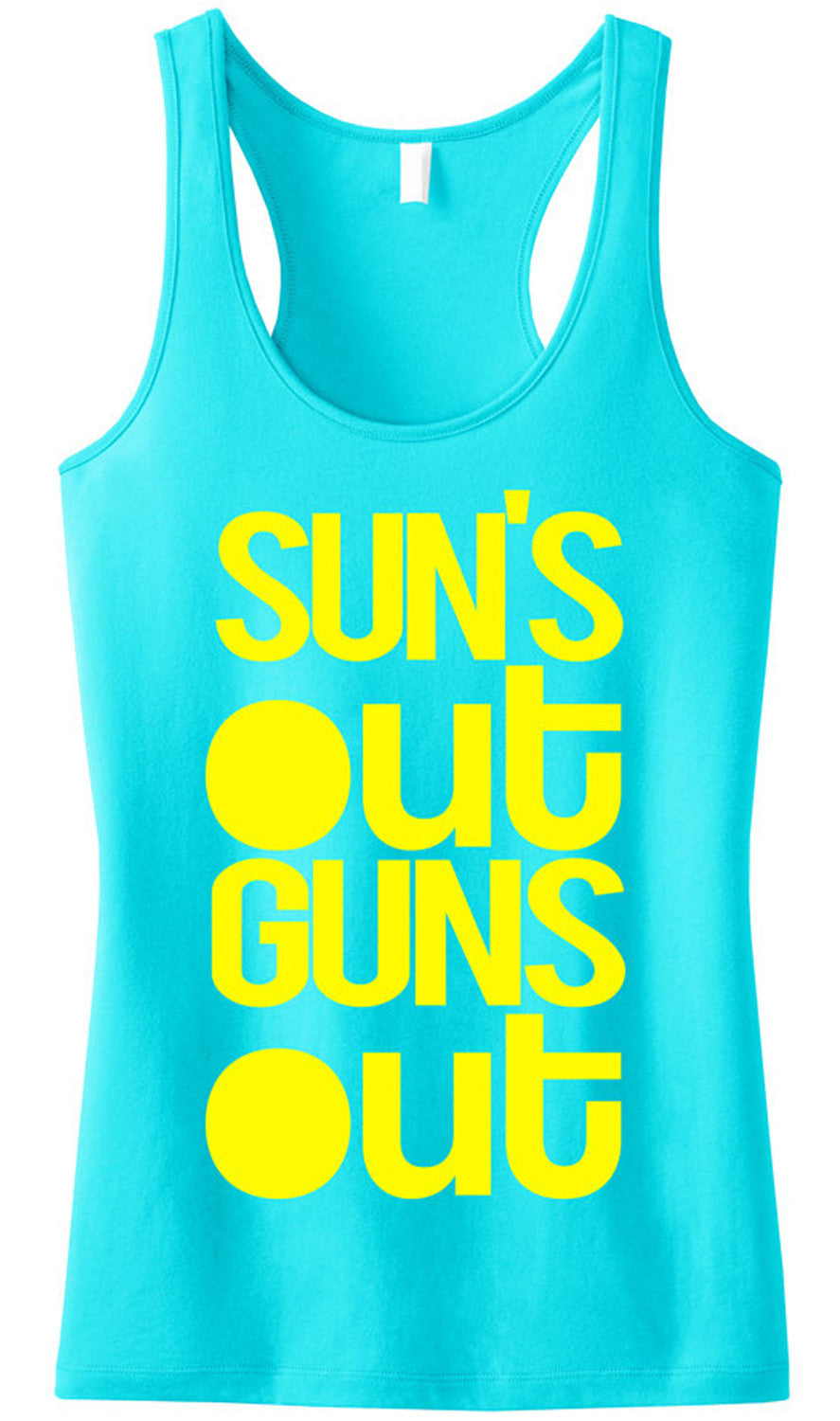 SUN'S OUT GUNS OUT Aqua Tank Top