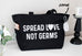 Spread Love Not Germs Grocery Zipper Tote Bag