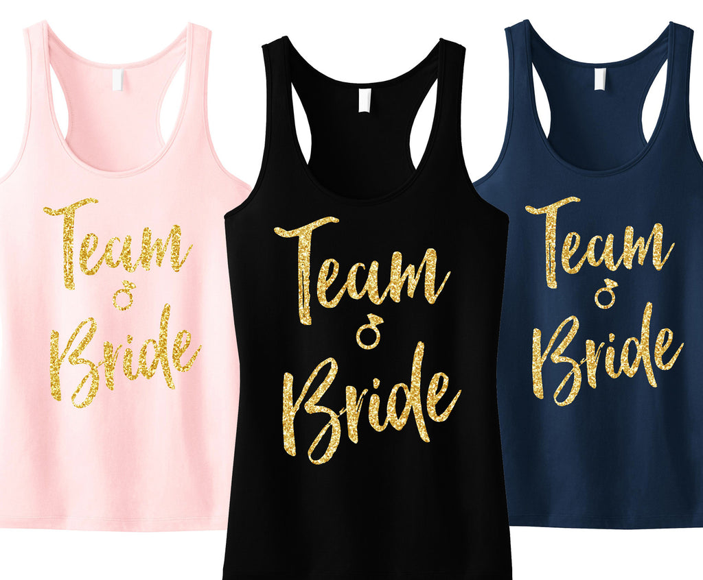 Team Bride Script Tank Top with Gold Glitter - Pick Color