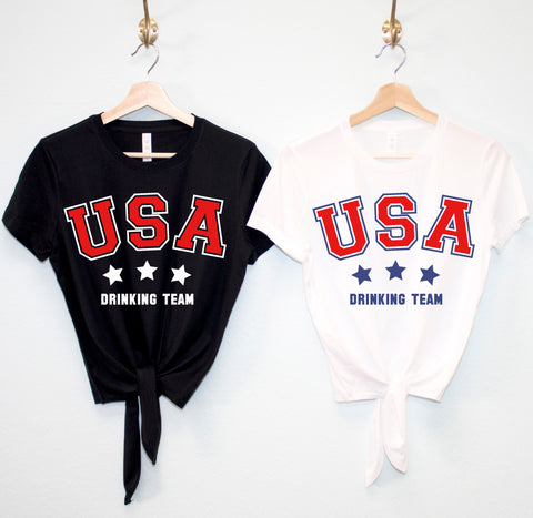 USA Drinking Team Crop Top