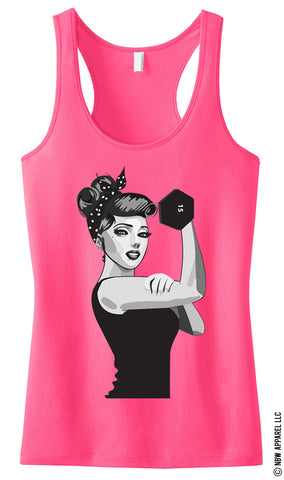 MODERN ROSIE the RIVETER Workout Tank Top Pink