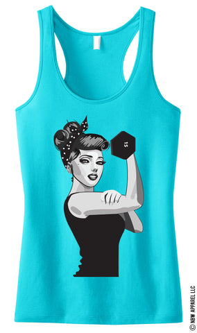 MODERN ROSIE the RIVETER Workout Tank Top Teal