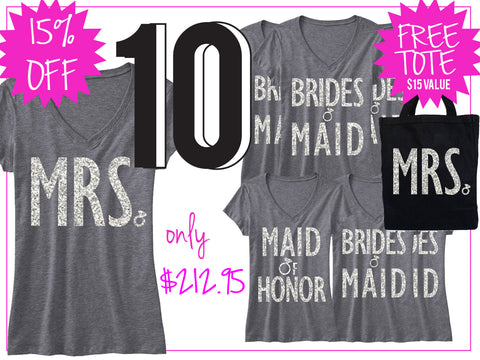 BRIDAL WEDDING 10 SHIRTS 15% Off Bundle, Mrs Shirt, Bridesmaid shirt, maid of honor shirt