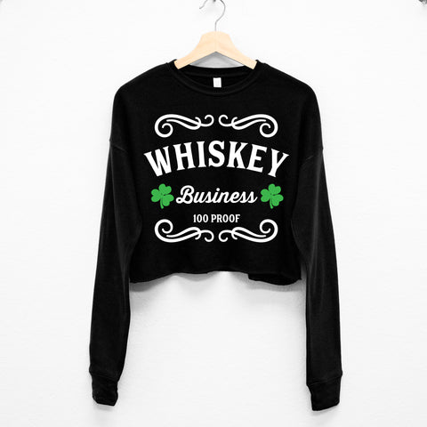 Whiskey Business St. Patrick's Day Cropped Sweater