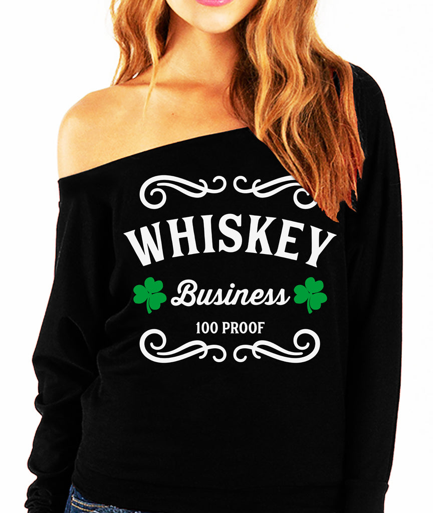 WHISKEY BUSINESS St. Patrick's Day Off-Shoulder Sweatshirt