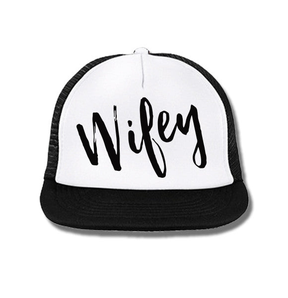 92ba5363 WIFEY Trucker Hat White with Black Print – NobullWoman Apparel