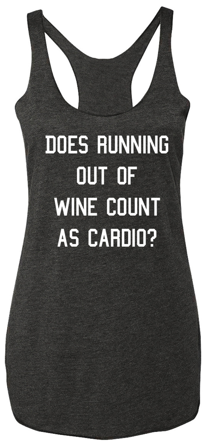 Running out of Wine Charcoal Tank Top White Print