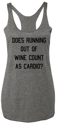 Running out of Wine Gray Tank Top Black Print