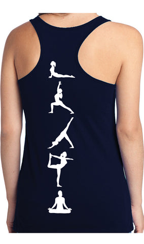 Yoga Poses Tank Top Navy Blue