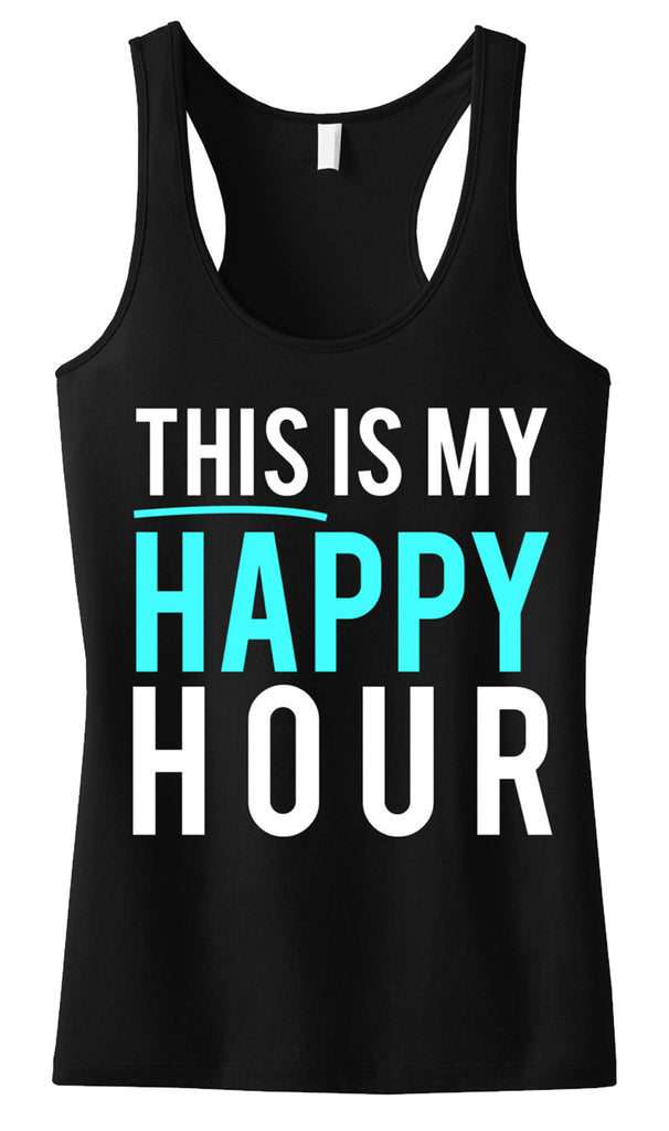 This Is My Happy Hour Workout Tank, Black