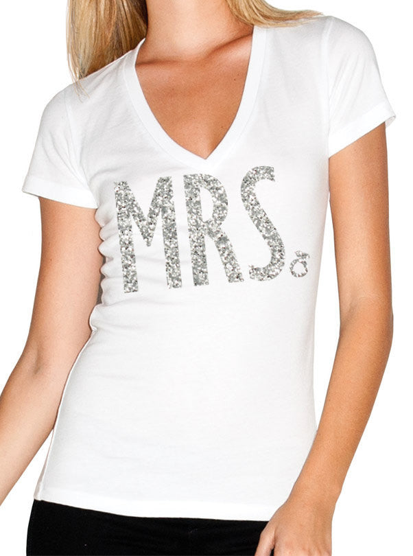 MRS. Bride Shirt with Glitter Print