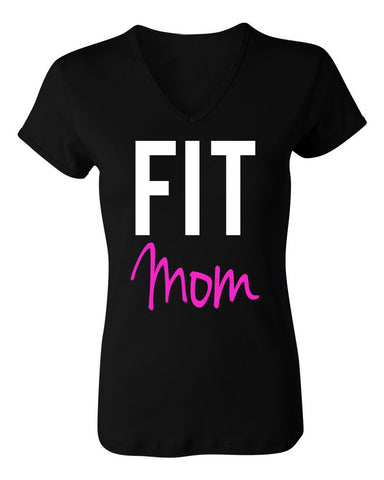 FIT MOM Workout Shirt Black with Pink
