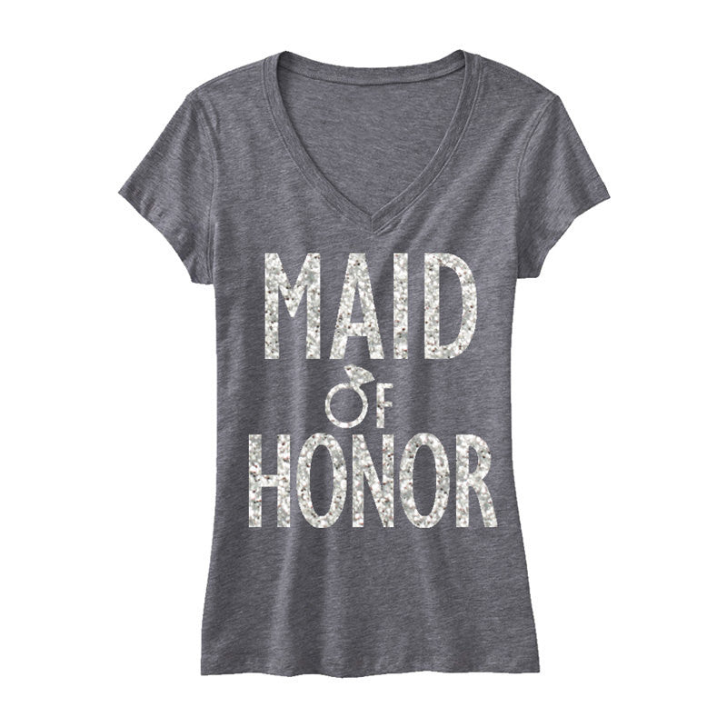 MAID of HONOR GLITTER Bridal Shirt V-neck