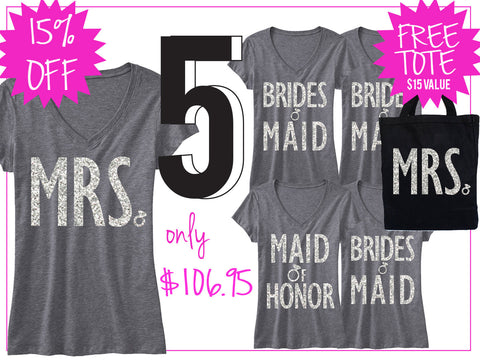 BRIDAL WEDDING 5 SHIRTS 15% Off Bundle, Mrs Shirt, Bridesmaid shirt, maid of honor shirt