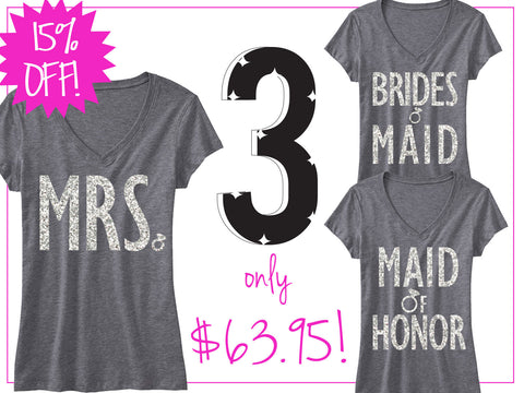3 BRIDAL WEDDING SHIRTS 15% Off Bundle, Mrs Shirt, Bridesmaid shirt, maid of honor shirt