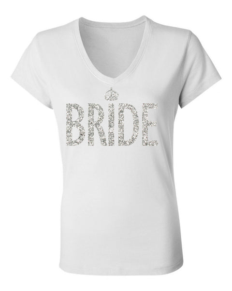 BRIDE GLITTER SHIRT White V-neck