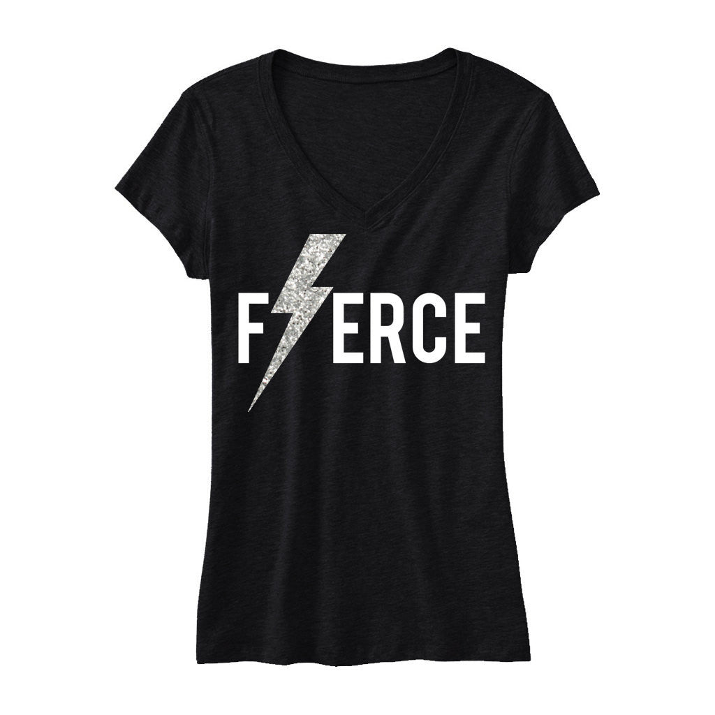 FIERCE Glitter Lightning Black Workout Shirt