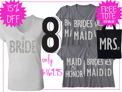 BRIDE WEDDING 8 SHIRTS 15% Off Bundle, Mrs Shirt, Bridesmaid shirt, maid of honor shirt
