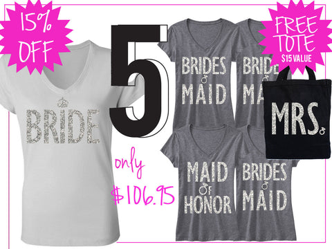 BRIDE WEDDING 5 SHIRTS 15% Off Bundle, Bride Shirt, Bridesmaid shirt, maid of honor shirt