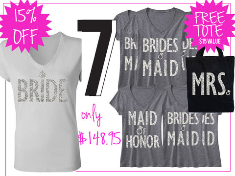 BRIDE WEDDING 7 SHIRTS 15% Off Bundle, Bride Shirt, Bridesmaid shirt, maid of honor shirt