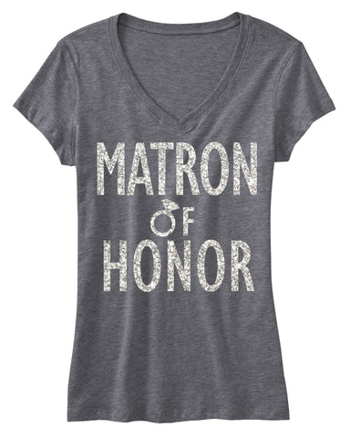 MATRON of HONOR GLITTER Bridal Shirt V-neck
