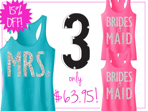 3 BRIDAL WEDDING Tank Tops 15% Off Bundle, Mrs Tank, Bridesmaid tank top