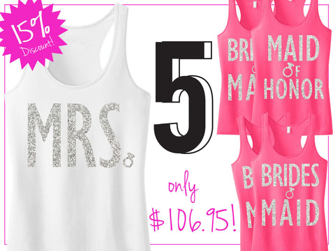 BRIDAL WEDDING 5 TANKS 15% Off Bundle, Mrs Shirt, Bridesmaid tank, maid of honor shirt