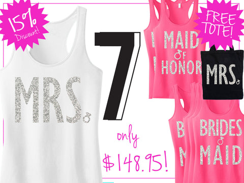 BRIDAL WEDDING 7 Tank Tops 15% Off Bundle, Mrs Shirt, Bridesmaid shirt, maid of honor shirt