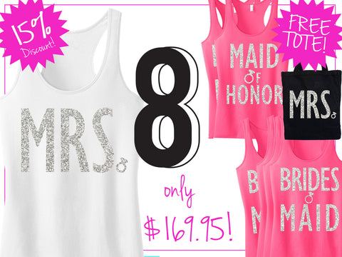BRIDAL WEDDING 8 Tank Tops 15% Off Bundle, Mrs Shirt, Bridesmaid tank, maid of honor shirt
